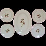 SALE 19c Haviland Limoges Platter & 4 Dessert Plates Moss Rose Antique