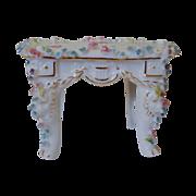 SALE Miniature Doll House Furniture Table or Desk  w/ Roses Antique German Porcelain Victorian