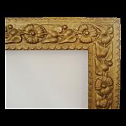 SALE Antique Picture Frame Wood & Gesso 19c Victorian Art Nouveau Aesthetic Eastlake Flowe