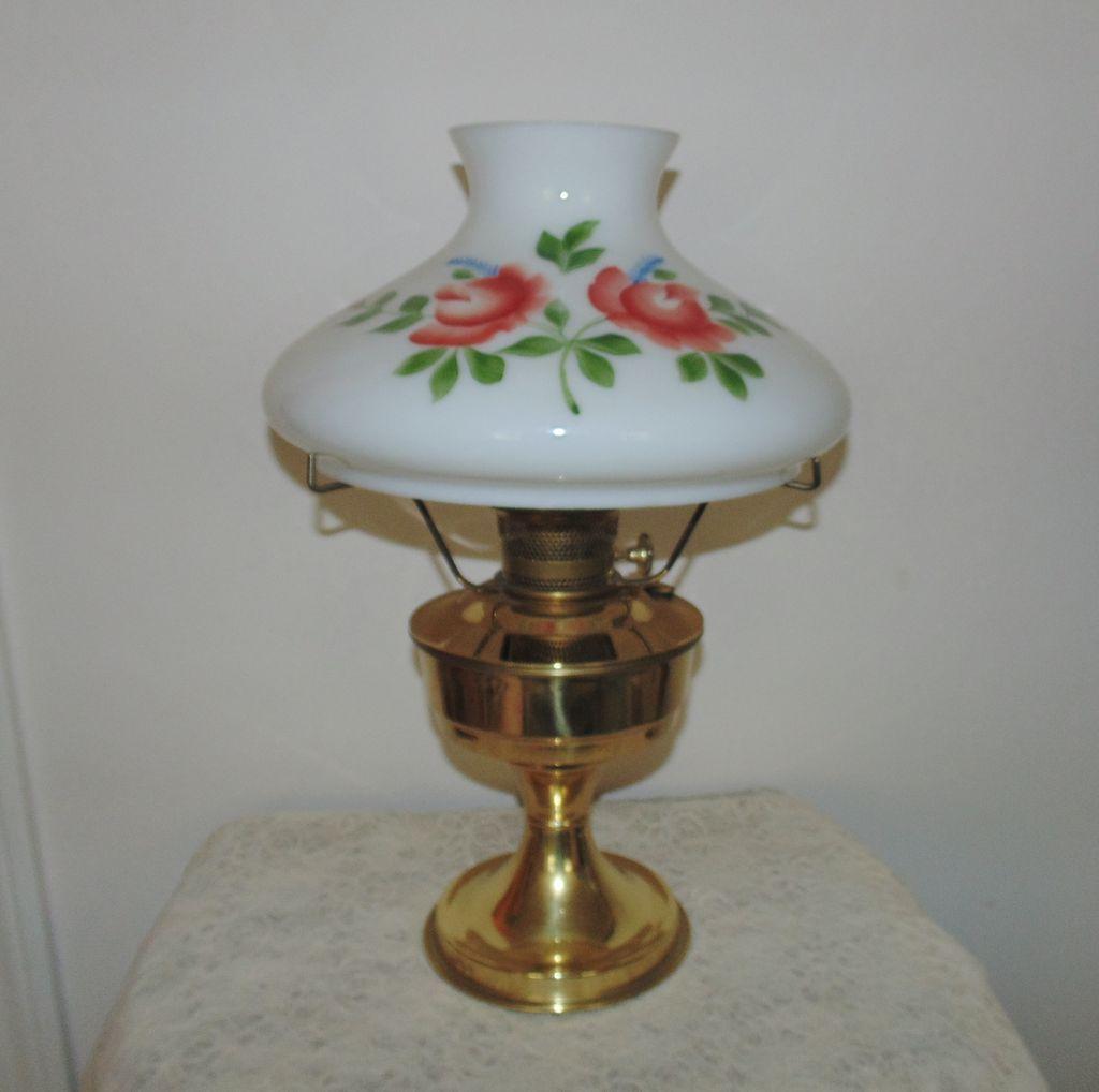 23 Aladdin Brass Lamp Oil Kerosene W Hand Painted Roses