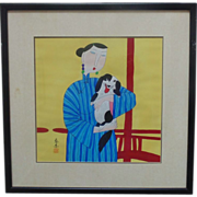 SALE Chinese Watercolor Painting of a Young Woman w/ Dog Signed