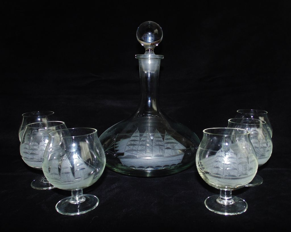 Brandy Decanter 6 Glasses Snifters Set Sailing Ship Vintage From Coyotemoonantiques On Ruby Lane