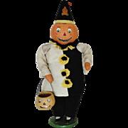 SALE Halloween Pumpkin Doll w/ Jack-o-Lantern Cloth Decoration Vintage