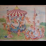 SALE Advertising Print Swan Soap Swanny Babies Framed & Matted Original Vintage 1940s