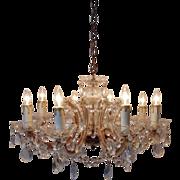 SALE Italian Murano Glass Chandelier w/ Beads & Prisms Venetian Vintage Crystal
