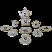 SALE Antique Child Doll Porcelain Tea Set w/ Portraits French Victorian Miniature