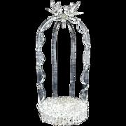 SALE Antique Wedding Cake Topper / Ornament Holder Italian Glass w/ Love Birds Gazebo Italy