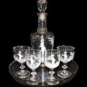 SALE Rare Antique 19c Victorian Mary Gregory Liqueur Cordial Decanter & 4 Glasses Set