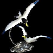SALE Pino Signoretto Sculpture Art Glass Italian Murano Venetian Pair of Flying Birds Terns ..