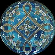 SALE Antique Moser Blue Glass Box Dresser Vanity Victorian Bohemian Enameled for Trinket Jewel