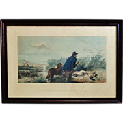 SOLD Antique Colored Engraving Duck Hunting c. 1852 Richard Ansdell / T O Barlow English Engla