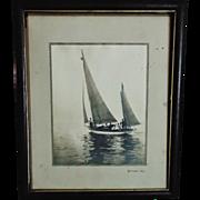 SOLD Antique B & W Photogravure Print Sailboat Sail Boat Natoma c. 1917 Photo Photograph