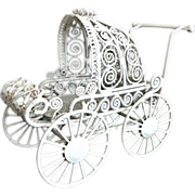 SALE Vintage Doll House Baby Pram Stroller Buggy Carriage White Curled Wire Wicker Dollhouse F