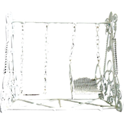 SALE Vintage Doll House Swing Set White Curled Wire Wicker Dollhouse Furniture Miniature
