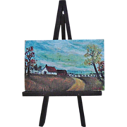 SALE Vintage Doll House Miniature Oil Country Painting c. 1967 w/ Stand Furniture Dollhouse