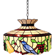 SOLD LARGE Stained Glass Chandelier Birds & Fruit Light Fixture