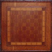 SALE Antique Game Board Folk Art Primitive 19c Hand-Made Carved & Inlaid Wood Cribbage ...