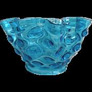 SALE Antique Blue Thumb Print Glass Lamp Shade Oil Kerosene Banquet