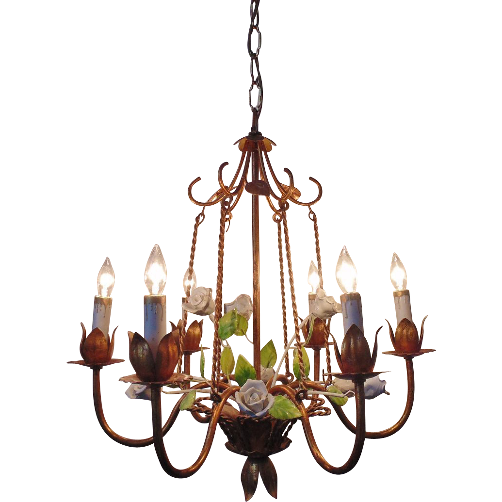 Italian Tole Chandelier Bird Cage Porcelain Roses Gilt Metal Vintage From Coyotemoonantiques On