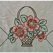 SALE Antique Linen Tablecloth Table Cloth Embroidered Royal Society Arts & Crafts Mission