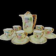 SALE Royal Rudolstadt Prussia Chocolate Set HP Roses on Porcelain Pot 6 Cups & Saucers ...