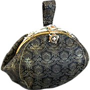 Early 20th C French silk brocade purse fancy enamel seed beads