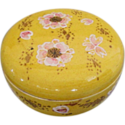 Old Chinese Yellow hand painted porcelain box