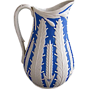 SOLD Blue and white 19th C English Staffordshire salt glaze Jug