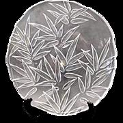 Round crystal platter bamboo pattern Hoya