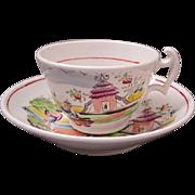 18th Century English chinoiserie tea cup saucer Indian Garden