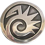 Old Hopi sterling brooch abstract design