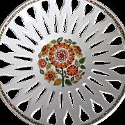 Vintage pierced porcelain fruit bowl flower power colors & design