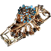 Barclay gold filled enameled bracelet wide cuff