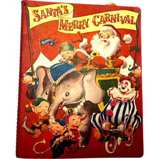 Santa's Merry Carnival Christmas Elves 1955 Rare Lithograph Pop-Up Book