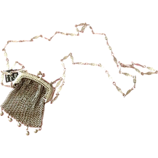 """Whiting & Davis Mini Mesh Purse on 17"""" Silver Chain Never Worn with Box"""