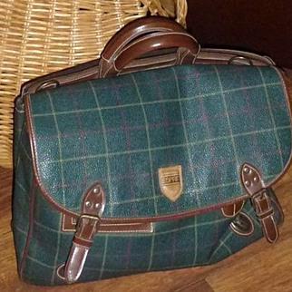 Vintage Leather Plaid Esprit Book Bag 1980's
