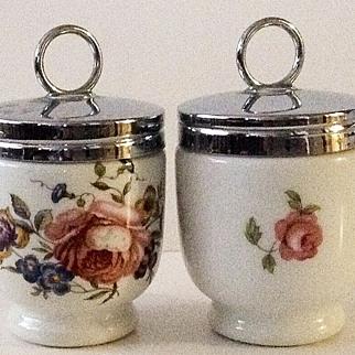 """Two Royal Worcester """"Bournemouth"""" Pink Rose Egg Coddler Porcelain Jars"""