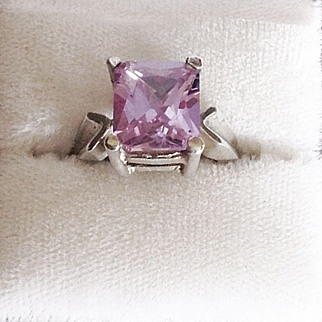 Simple.925 Silver Amethyst Ring Size 8
