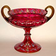 Superb Cranberry Glass Renaissance Style ca. 1880 Large Enamel Centerpiece w/Cherubs, Grotesques, Etc.
