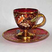 Exquisite Moser Cranberry Cup & Saucer w/Insects, Gilt & Enamel