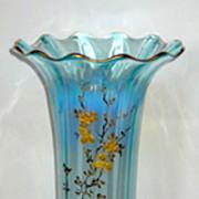 "Large 14"" French Blue Opalescent Vase w/gilt Roses"