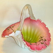 Superb Watermelon Colors Large Victorian Basket w/Gilt & Jewels