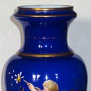 Large Cobalt Cased Enameled Art Glass Vase w/Cherub