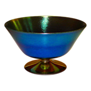 Durand Blue Luster Iridescent Art Glass Footed Compote