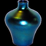 Steuben Blue Aurene Iridescent Art Glass Vase