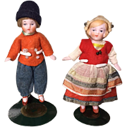 Darling c1920s German All Bisque Boy & Girl Dollhouse Doll Pair!
