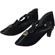 Gorgeous! 1920s Black Boudoir Bed Doll Shoes!