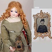 Antique French Fashion Doll Frame w Tintype - Great Detail!