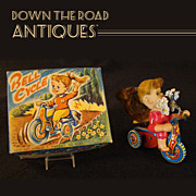 Celluloid Girl Riding Tin Wind-up Tricycle Toy - Mint In Box