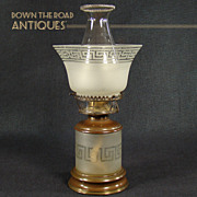 Satin Glass Kerosene Table Lamp with Greek Key Borders and Pearl Top Chimney